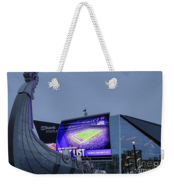 Usbank Stadium Viking Ship Weekender Tote Bag