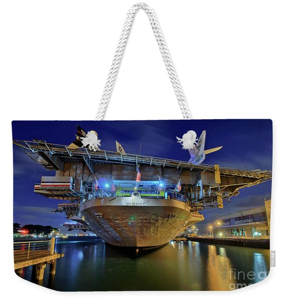 Weekender Tote Bag featuring the photograph Uss Midway Aircraft Carrier  by Sam Antonio Photography