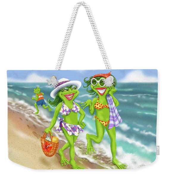 Vacation Beach Frog Girls Weekender Tote Bag