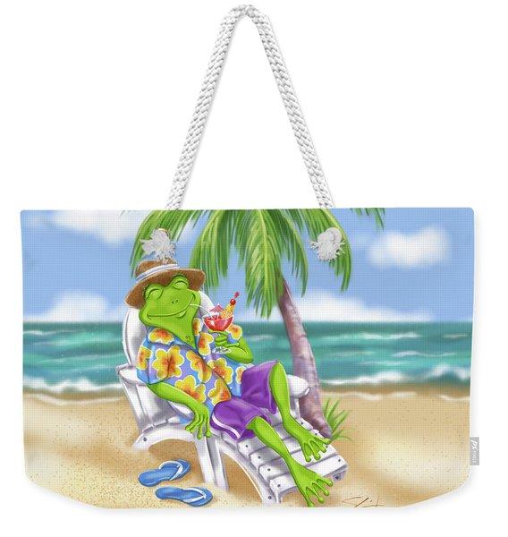 Vacation Relaxing Frog Weekender Tote Bag