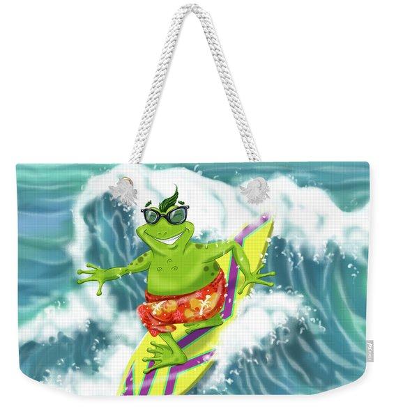 Vacation Surfing Frog Weekender Tote Bag