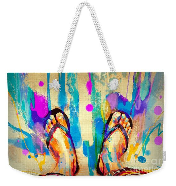 Weekender Tote Bag featuring the painting Vacation Time by Tithi Luadthong