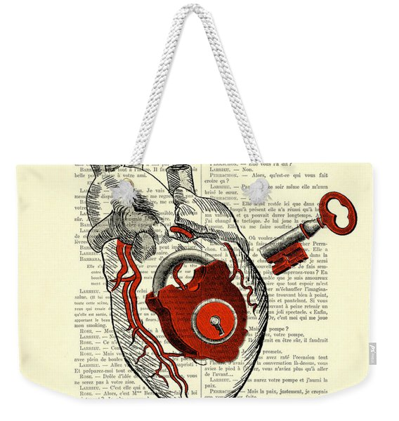 Valentine's Day Gift, Heart With Key Weekender Tote Bag