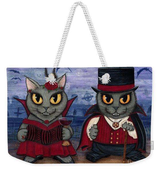 Vampire Cat Couple Weekender Tote Bag
