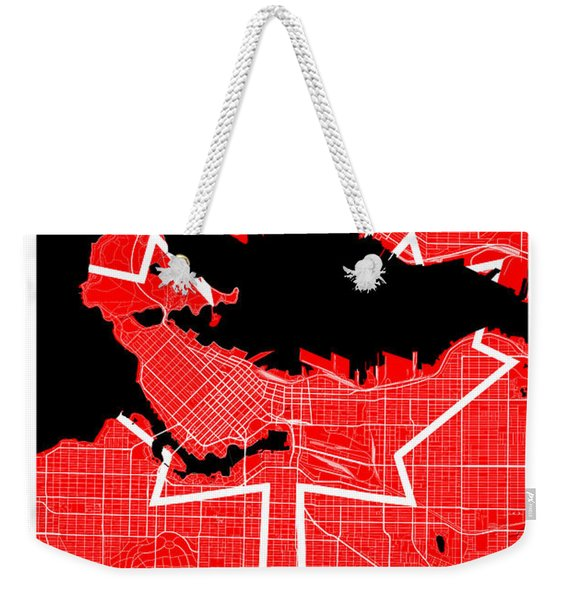 Vancouver Street Map - Vancouver Canada Road Map Art On Canada Flag Symbols Weekender Tote Bag