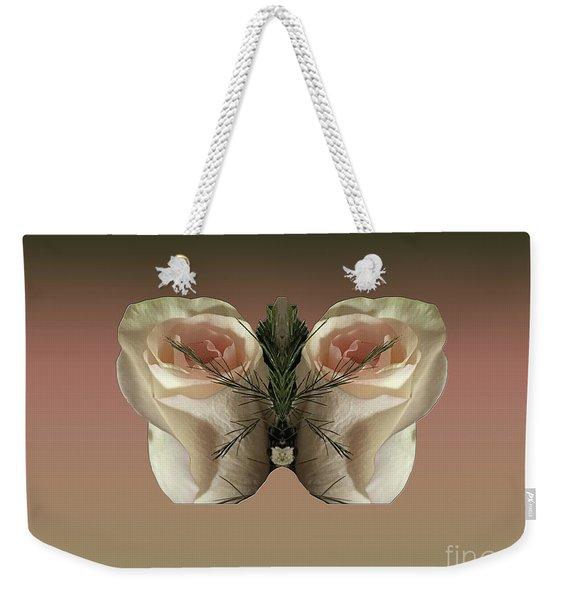 Vanilla Butterfly Rose Weekender Tote Bag