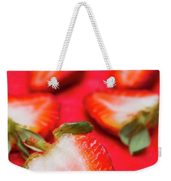 Various Sliced Strawberries Close Up Weekender Tote Bag
