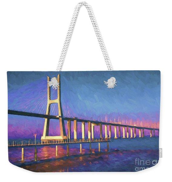 Vasco Da Gama Bridge At Sunset Weekender Tote Bag