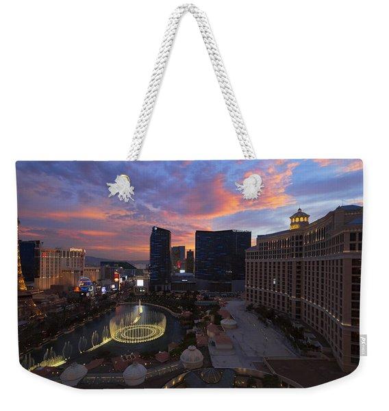 Vegas By Night Weekender Tote Bag
