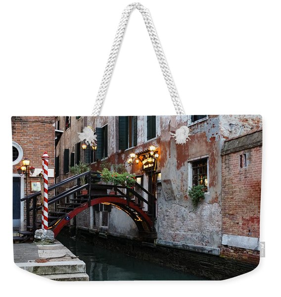 Venice Italy - The Cheerful Christmassy Restaurant Entrance Bridge Weekender Tote Bag