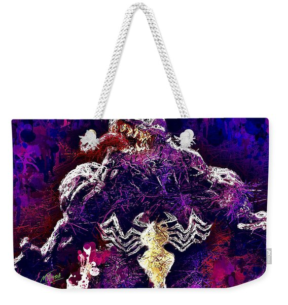 Weekender Tote Bag featuring the mixed media Venom by Al Matra
