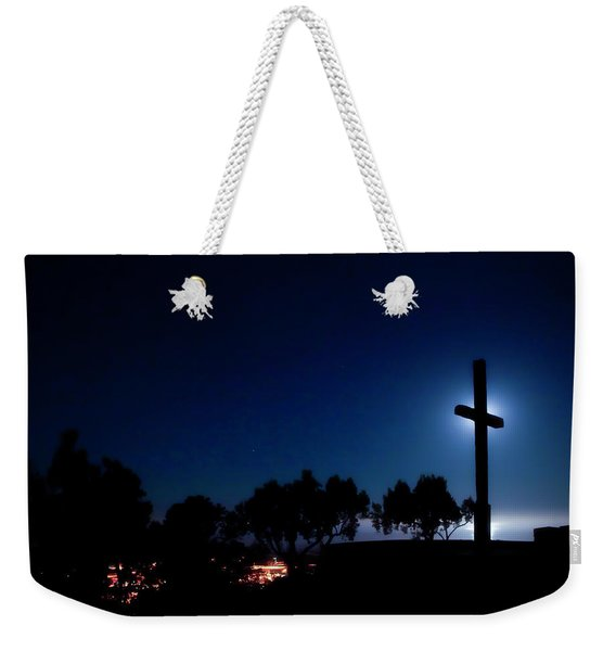Ventura Ca Cross At Moonset Weekender Tote Bag