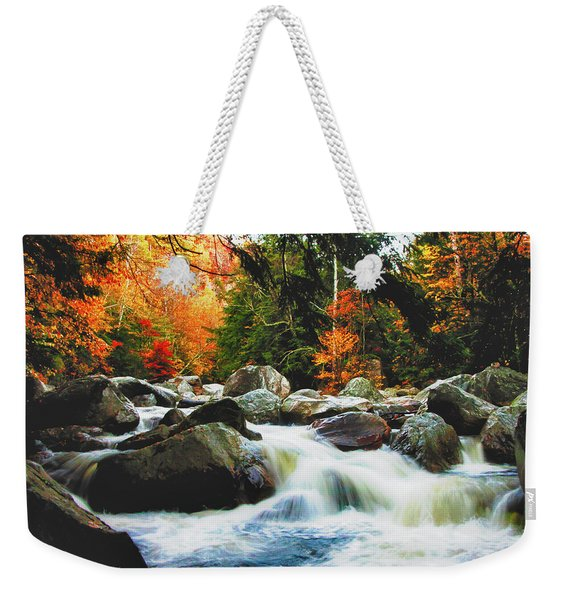 Weekender Tote Bag featuring the photograph Vermonts Fall Color Rapids by Jeff Folger