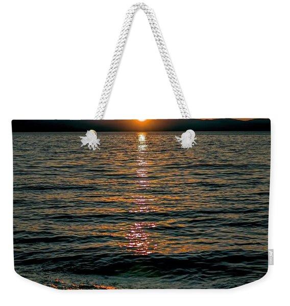 Vertical Sunset Lake Weekender Tote Bag