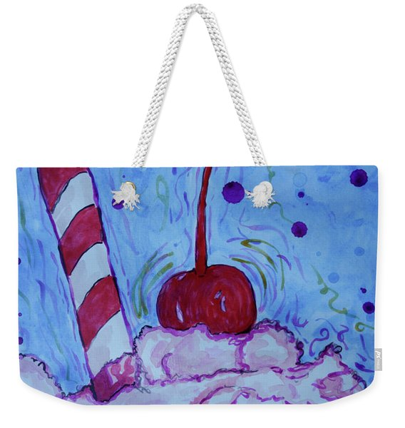 Weekender Tote Bag featuring the painting Very Cherry Soda by Jacqueline Athmann