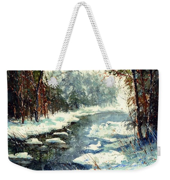Very Cold Winter Watercolor Weekender Tote Bag