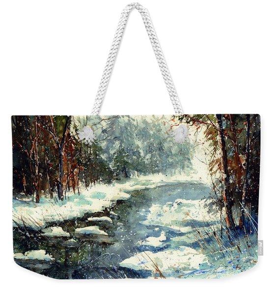 Very Cold Winter Watercolor Weekender Tote Bag