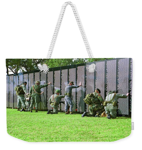 Weekender Tote Bag featuring the photograph Veterans Memorial by Carolyn Marshall