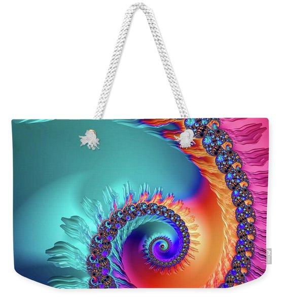Vibrant And Colorful Fractal Spiral  Weekender Tote Bag
