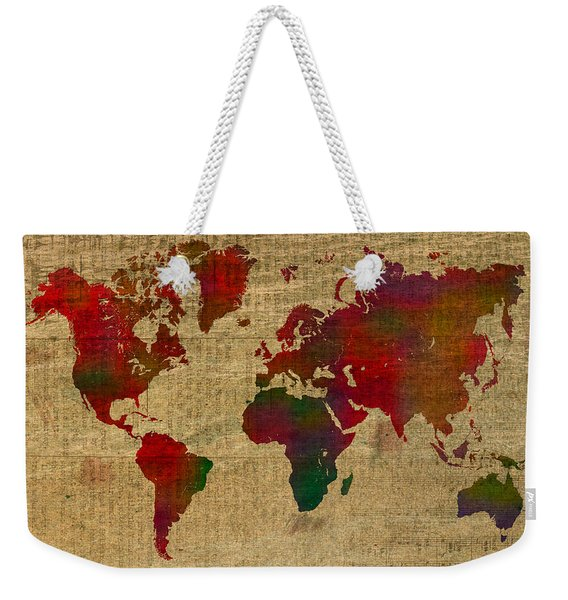Vibrant Map Of The World In Watercolor On Old Sheet Music And Newsprint Weekender Tote Bag