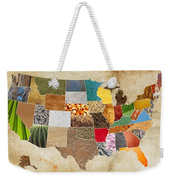 Vibrant Textures Of The United States On Worn Parchment Weekender Tote Bag
