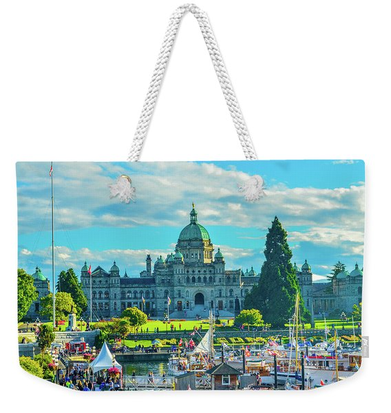 Victoria Bc Parliament Harbor Weekender Tote Bag