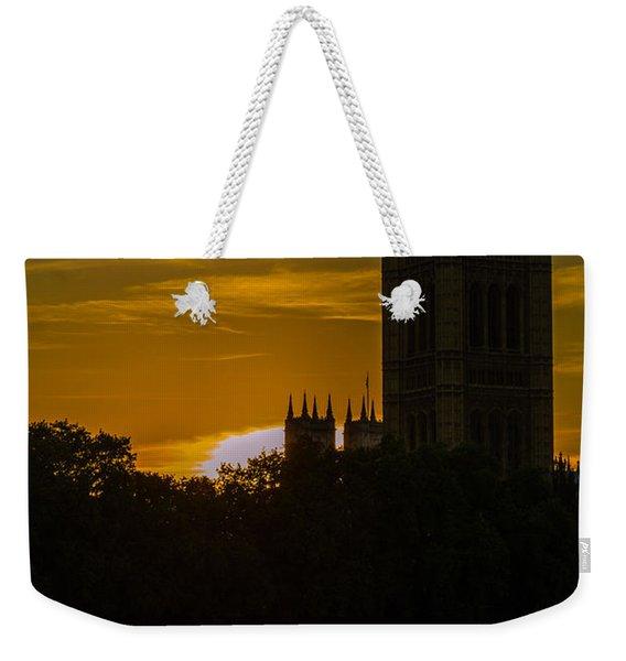 Victoria Tower In London Golden Hour Weekender Tote Bag