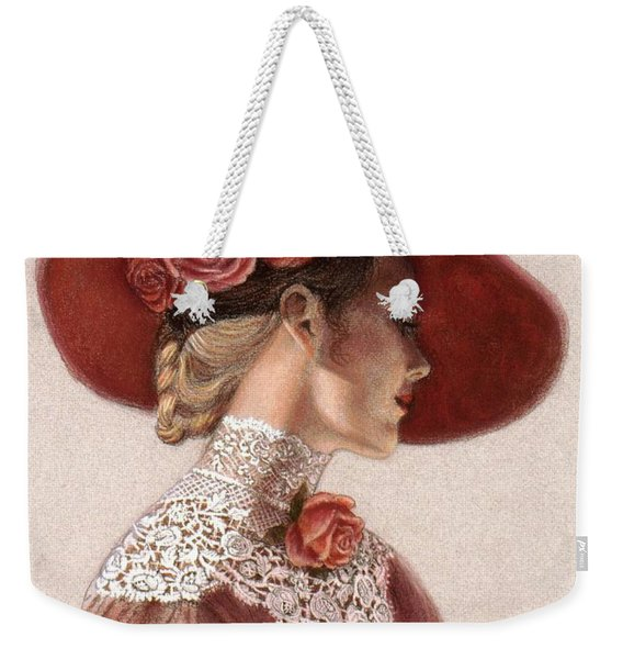 Victorian Lady In A Rose Hat Weekender Tote Bag