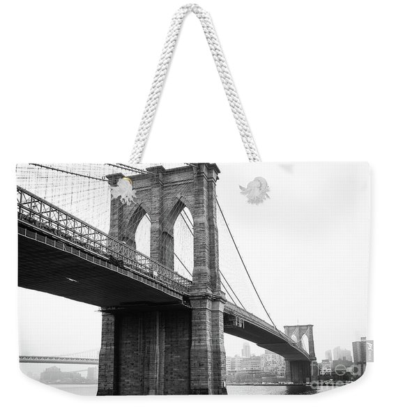 View Brooklyn Bridge With Foggy City In The Background Weekender Tote Bag