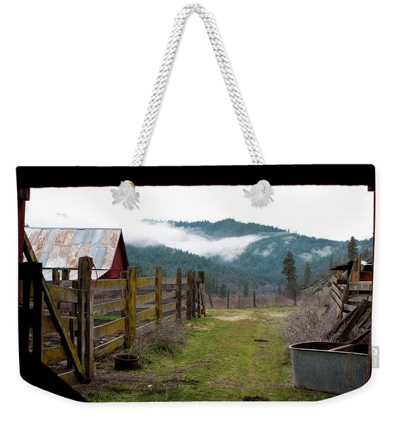 Weekender Tote Bag featuring the photograph View From A Barn by Lorraine Devon Wilke