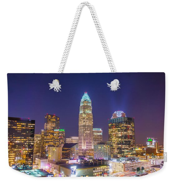 View Of Charlotte Skyline Aerial At Sunset Weekender Tote Bag