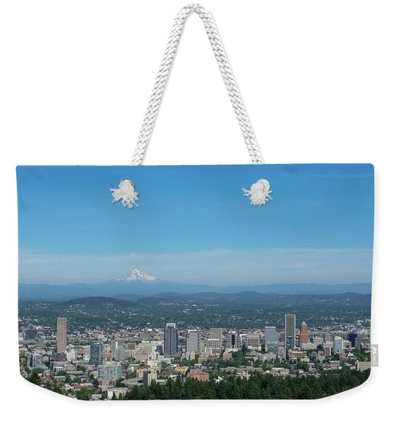 View Of Downtown Portland Oregon From Pittock Mansion Weekender Tote Bag