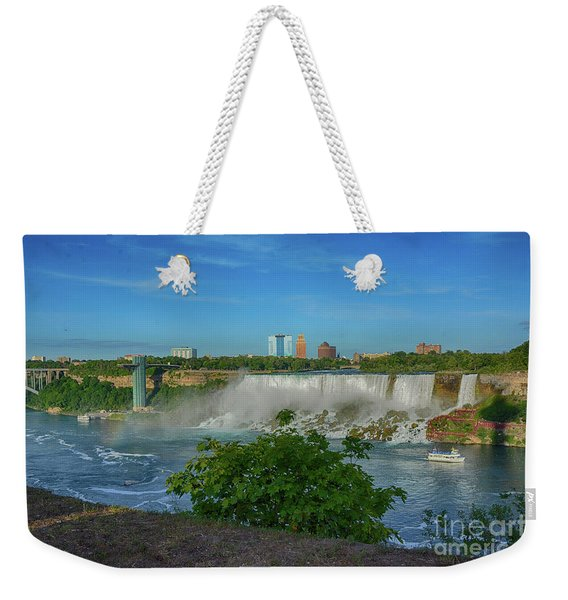 View Of Usa From Canada Weekender Tote Bag