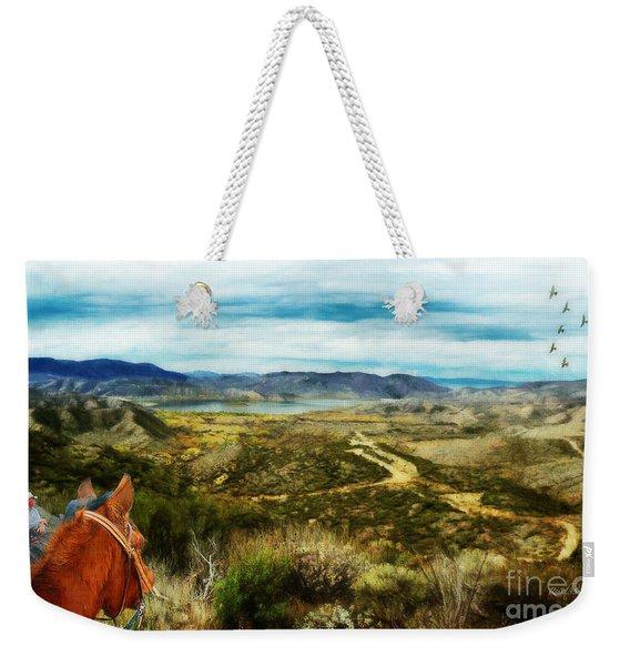 View Of Vail Lake On Horseback Weekender Tote Bag