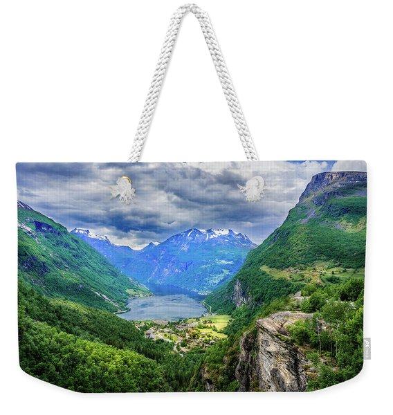 View On Geiranger From Flydalsjuvet Weekender Tote Bag
