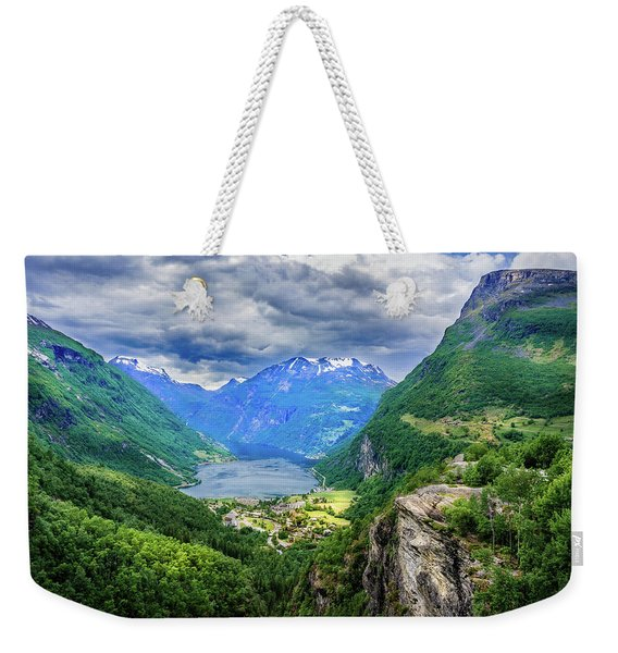 Weekender Tote Bag featuring the photograph View On Geiranger From Flydalsjuvet by Dmytro Korol
