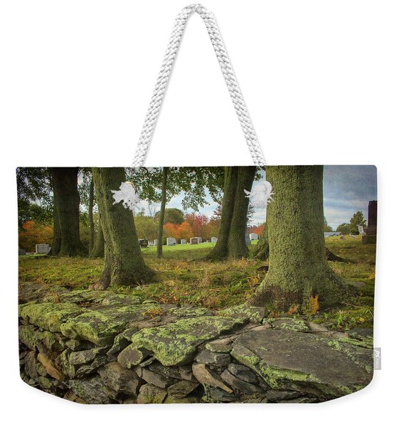 Weekender Tote Bag featuring the photograph View Toward The Cemetery by Nancy De Flon