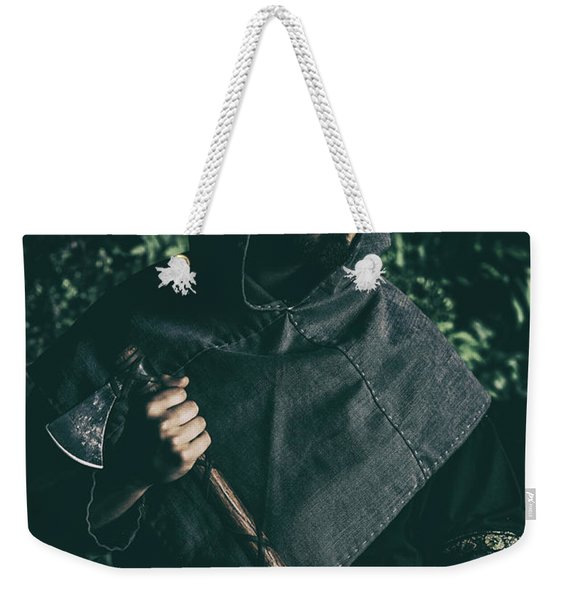 Viking Man With Axe Weekender Tote Bag