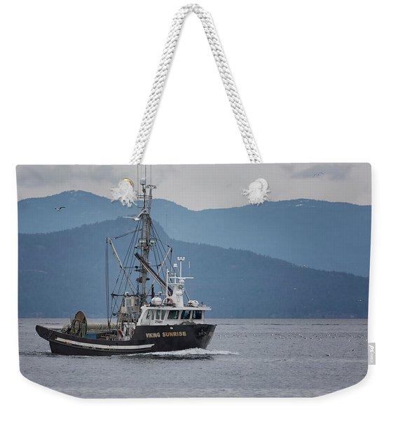 Viking Sunrise At Nw Bay Weekender Tote Bag