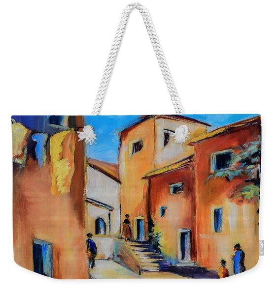 Village Street In Tuscany Weekender Tote Bag