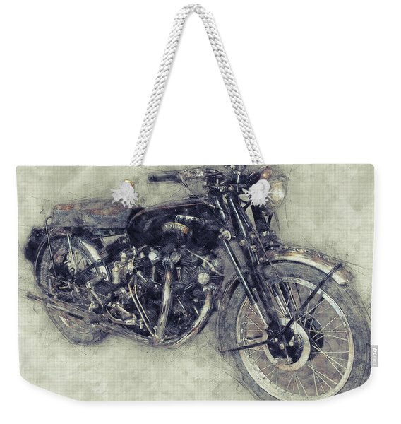Vincent Black Shadow 1 - Standard Motorcycle - 1948 - Motorcycle Poster - Automotive Art Weekender Tote Bag