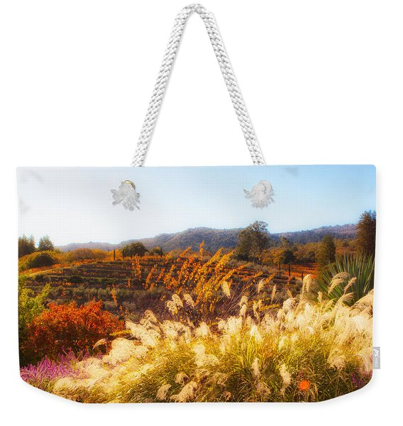 Weekender Tote Bag featuring the photograph Vineyard Afternoon By Mike-hope by Michael Hope