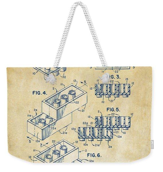Vintage 1961 Toy Building Brick Patent Art Weekender Tote Bag