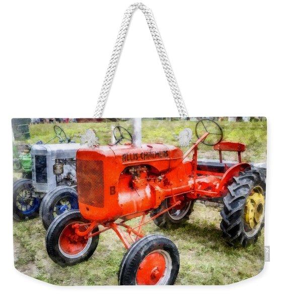 Vintage Allis-chalmers Tractor Watercolor Weekender Tote Bag