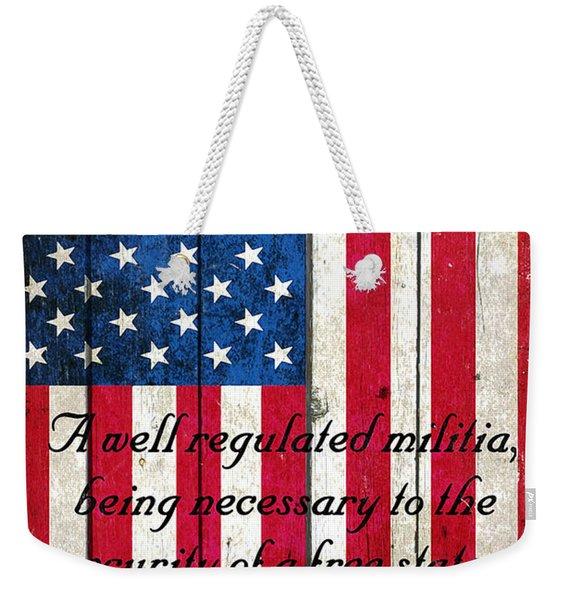 Vintage American Flag And 2nd Amendment On Old Wood Planks Weekender Tote Bag