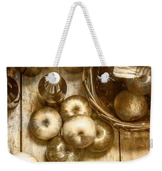 Vintage Apple Cider On Wood Crate Weekender Tote Bag