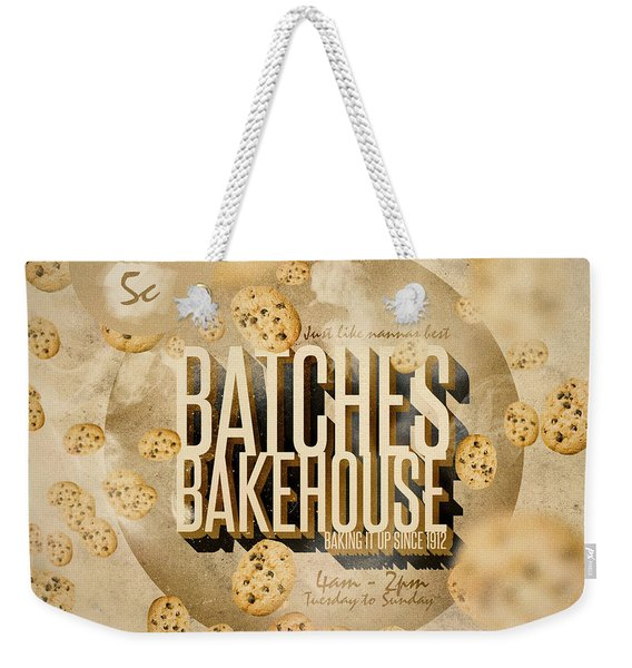 Vintage Bakery Ad - Batches Bakehouse Weekender Tote Bag