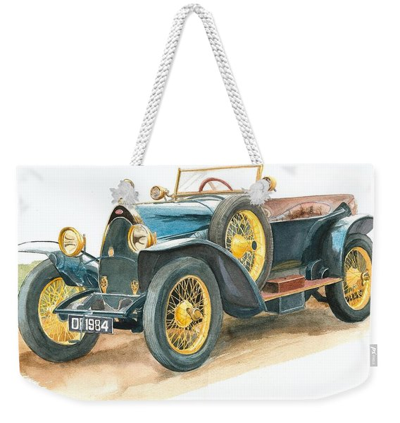 Vintage Blue Bugatti Classic Car Weekender Tote Bag