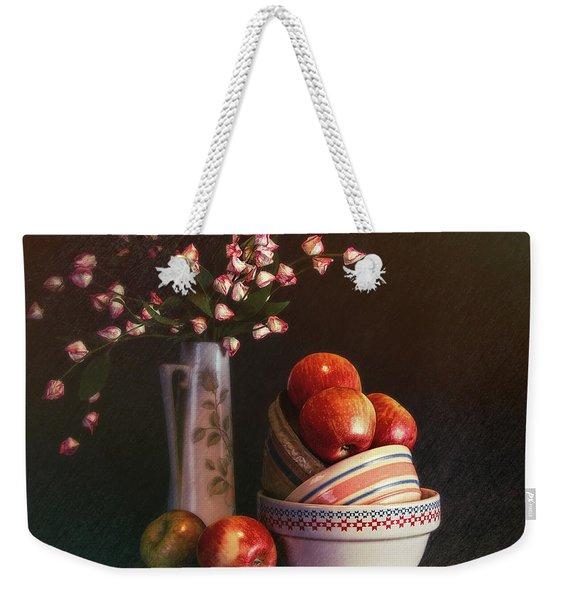 Vintage Bowls With Apples Weekender Tote Bag