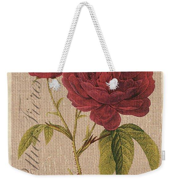 Vintage Burlap Floral 3 Weekender Tote Bag